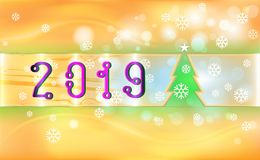Orange Merry Christmas vintage background with green tree and ornaments from light snowflakes. For New Year color. Vector illustra. Tion for design and royalty free illustration