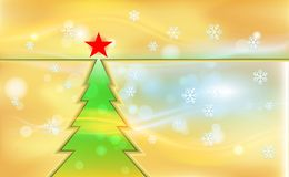 Orange Merry Christmas vintage background with green tree and ornaments from light snowflakes. For New Year color. Vector. Illustration for design and stock illustration