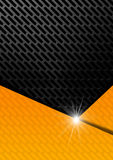 Orange and Metal Background with Grid. Orange, black and gray abstract background with metallic grid Royalty Free Stock Images