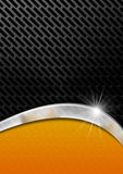 Orange and Metal Background with Grid. Orange, black and gray abstract background with metallic grid Royalty Free Stock Image