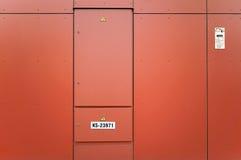 The orange  metal door Royalty Free Stock Photo
