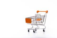 Orange metal shopping cart. Royalty Free Stock Photos