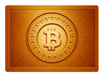 Orange Metallic Bitcoin Plate. With clippingpath for white background removal Royalty Free Stock Photo