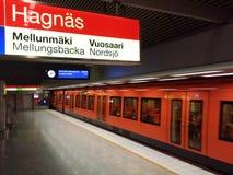 Orange metro. Helsinki city metro at Hakaniemi metro station stock photography