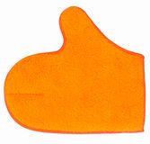 Orange microfiber glove for cleaning Royalty Free Stock Photography