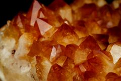 Mineral Citrine quartz cluster crystal texture royalty free stock images