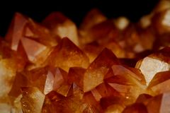 Mineral Citrine quartz cluster crystal texture royalty free stock photo