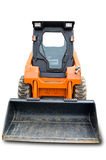 Orange mini wheel excavator. Orange wheel mini excavator isolated over white. With clipping path. Close up Stock Image