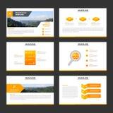Orange minimal presentation templates Infographic elements flat design set for brochure flyer leaflet marketing advertising. Set vector illustration