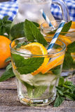 Orange and mint ice water Royalty Free Stock Photo