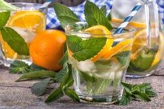 Orange and mint ice water Stock Photo