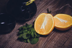 Orange and mint tea served in cup Stock Image