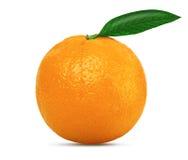 Orange mit Blatt Stockbild