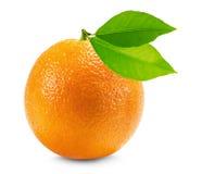 Orange mit den Blättern lokalisiert auf dem weißen Hintergrund Lizenzfreie Stockfotos