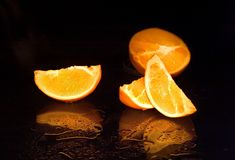Orange mit Reflexion Stockbild