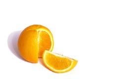 Orange mit seinem Viertel Stockbild