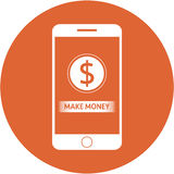Orange mke money and dollars sign design in a flat round button Stock Image