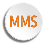 Orange mms in round white button with shadow. Orange mms in round white button Stock Photography