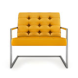Orange modern armchair isolated on white background 3D rendering Royalty Free Stock Image