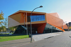 Orange modern building in Lelystadt, Holland Royalty Free Stock Photo