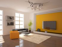Orange modern design interior Royalty Free Stock Images