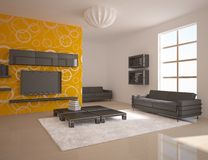 Orange modern design interior Stock Image