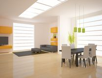 Orange modern design interior Stock Photos
