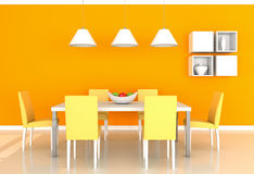 Orange modern dining room Stock Image