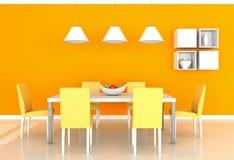 Orange modern dining room. 3d rendering orange modern dining room Stock Image