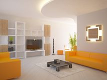 Orange modern interior Royalty Free Stock Images