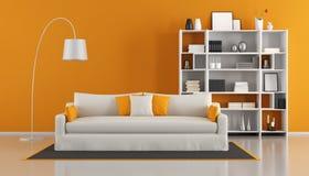 Orange modern vardagsrum Arkivfoton
