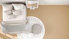 Orange moderne confortable et chambre à coucher beige avec le plancher de parquet en bois, le tapis avec le pouf et le lit avec l illustration de vecteur