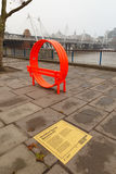 Orange `Modified Social Benches NY` by Jeppe Hein, South Bank, L Royalty Free Stock Photography