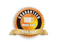 Orange money-back guarantee. Cool orange gold badge - 100% money-back risk-free Royalty Free Illustration