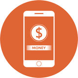 Orange money and dollars sign design in a flat round button Stock Photography