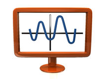 Orange monitor with chart Stock Photography