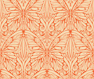 Orange monochrome pattern of butterfly and floral Royalty Free Stock Photos