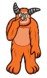 Orange Monster Put Finger on Its Nose Cartoon Stock Photography