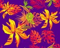 Free Orange Monstera Design. Pink Watercolor Textile. Yellow Banana Leaf Painting. Purple Seamless Palm. Neon Pattern Texture. Tropical Stock Photo - 218086060