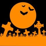 Orange moon, cemetery and bats Stock Photo