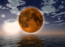 Orange moon over the ocean. 3d rendering of the moon Royalty Free Stock Image