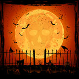 Orange Moon with skull Royalty Free Stock Image