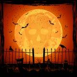 Orange Moon with skull Royalty Free Stock Image