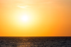 Orange Morning Sky Sunrise. Over The Ocean Stock Photography