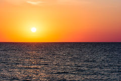 Orange Morning Sky Sunrise. Over The Ocean Royalty Free Stock Image