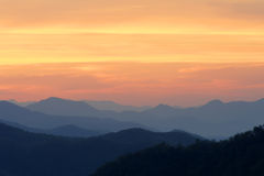 Orange Morning Sunrise on Mountains Stock Image