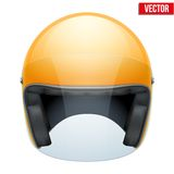 Orange motorbike classic helmet with clear glass Stock Photos