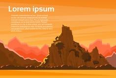 Orange Mountain Sunset Sky Landscape Flat Vector. Illustration stock illustration