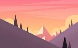 Orange Mountain Sunset Sky Landscape Royalty Free Stock Images