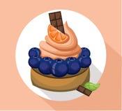 Orange mousse delicious cake. Sweet dessert cherry blackberry decoration Vector illustration Royalty Free Stock Images